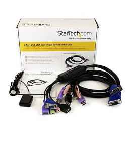 2 port VGA Cable KVM Switch with Audio